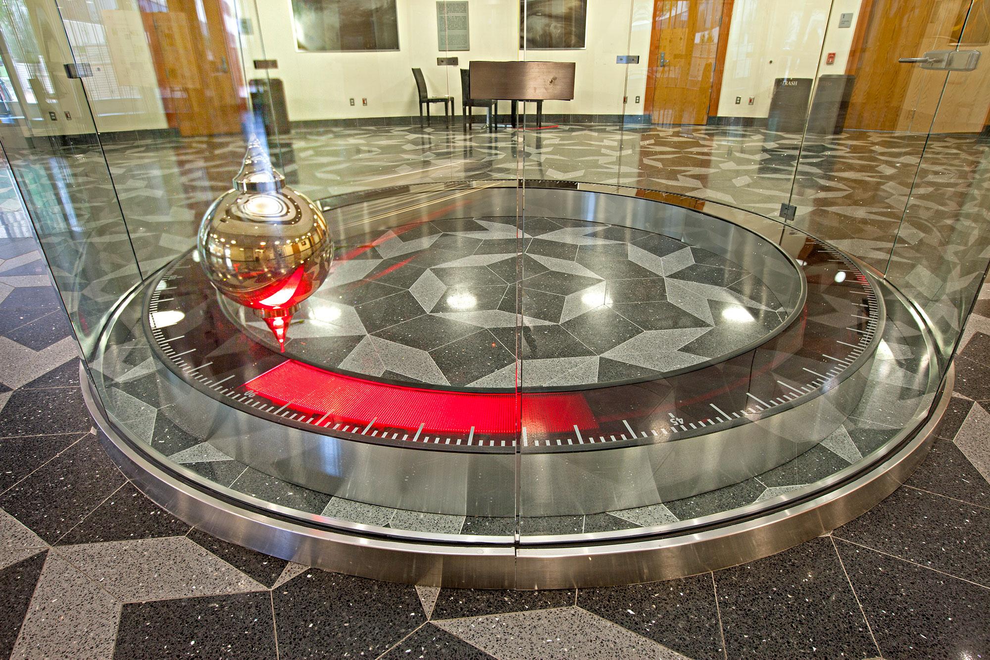 83-foot Foucault pendulum swinging in the Mitchell Institute (MIST) atrium